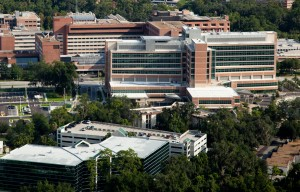 Aerials of the University of Florida Health Science Center shot from the ShandsCair helicopter. UF Health Shands Cancer Hospital, UF Health Shands Children's Hospital and UF Health Shands Hospital.